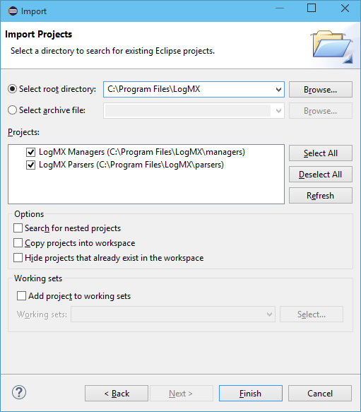 Import Eclipse project for LogMX Parsers