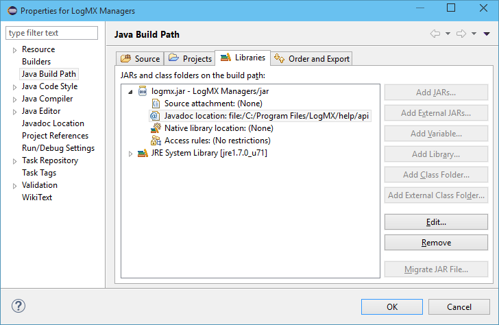 Build path settings for Eclipse project to develop LogMX Managers
