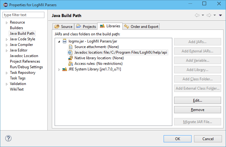 Build path settings for Eclipse project to develop LogMX Parsers