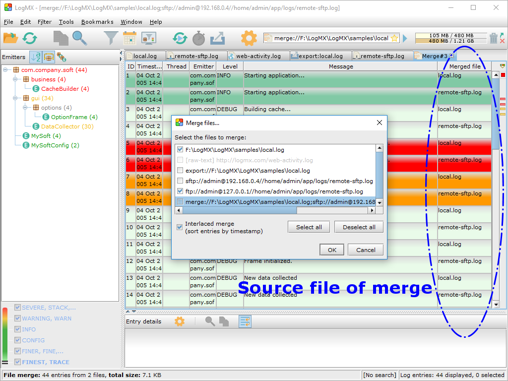 &quot;Merge files&quot; dialog to merge already opened files,<BR/>and merged view